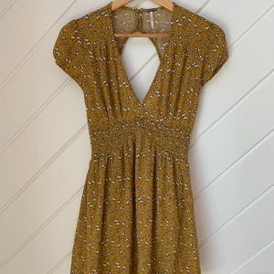 Free People mustard floral Baby doll dress!